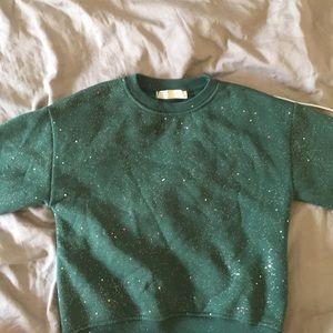 Zara girls sparkly green sweatshirt